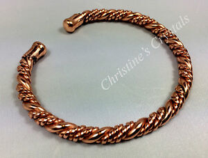 Non-Magnetic-Solid-TWISTED-COPPER-Bracelet-Healing-Arthritis-Pain-Relief-B22