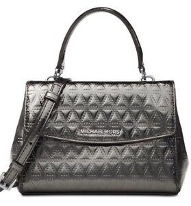 Details about Michael Kors Blue Crossbody Leather Mini Glimmering Steel purse shoulder bag