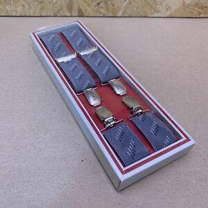 Vintage Gris & Argent Clip Braces Suspenders-mariage - 1980 S-coffret-afficher Le Titre D'origine Le Prix Reste Stable