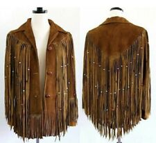 Womens Cowboy Jacket Brown Suede Leather Fringe Native American Western Wear New