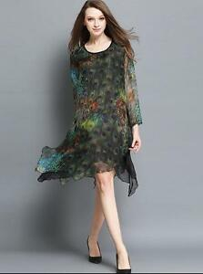 New-Women-Lady-Long-Sleeve-Asymmetric-Hem-Evening-Cocktail-Party-Plus-Size-dress