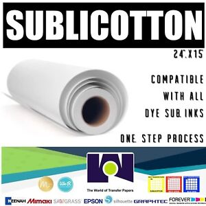 """Details about SUBLICOTTON Heat Transfer Paper Roll 24""""x50' For sublimation  plotters"""