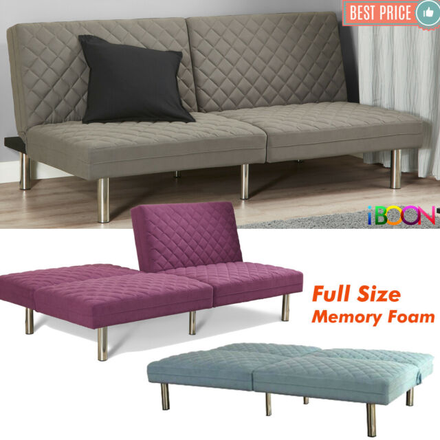 Memory Foam Futon Sofa Bed Sleeper Convertible Couch Foldable Full With  Mattress