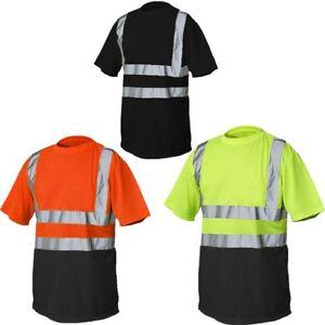 5118a606119c Mens Hi Visibility Short Sleeve TShirt Boys Crew Neck Safety Work ...
