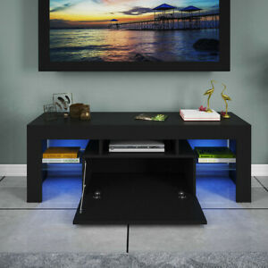 Modern-High-Gloss-TV-Unit-Cabinet-Stand-with-LED-Lights-Shelves-Home-Black-NEW