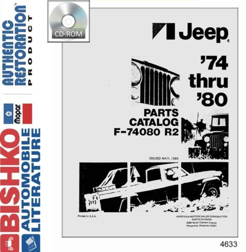 1974 1975 1976 1977 1978 1979 1980 Jeep Part Numbers Book List Guide CD OEM
