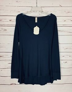 Altar-039-d-State-Women-039-s-M-Medium-Navy-Blue-Waffle-Thermal-Tunic-Top-Shirt-NEW-TAGS