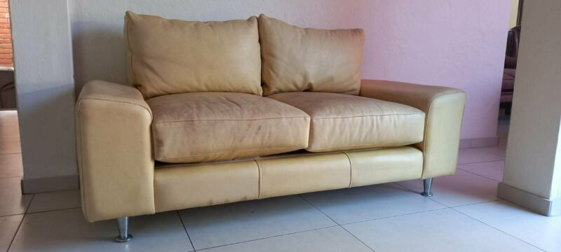 Modern Alexiou Genuine Leather Couch 2 Seater Butterscotch Leather Sofa