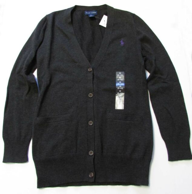 Sz M Lauren Sweater Polo Cotton V Neck Children Ralph Supima Cardigan BrdoWCxe