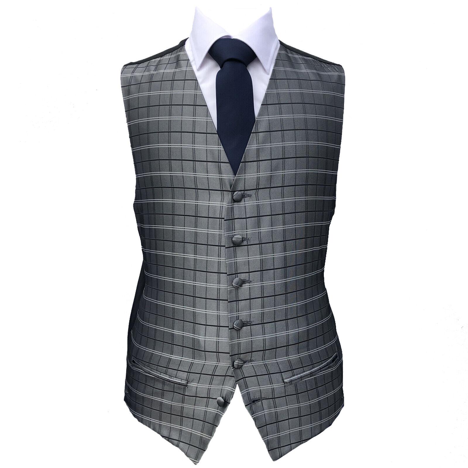 Silver Stripe Waistcoat Vest Wedding Formal UK Men/'s A49