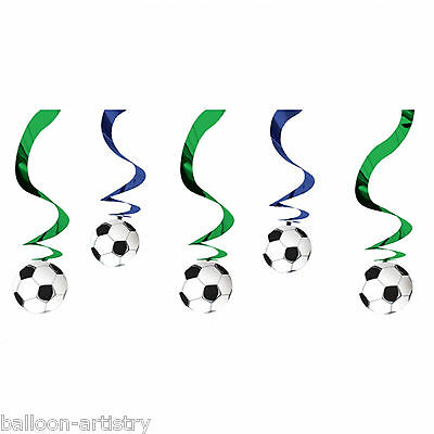 """5 Football Soccer 24"""" Hanging Foil Swirl Party Decorations"""