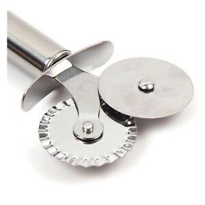 Pastry Pasta Crimper Cutter Dough Pizza Ravioli Dual Wheel Tool Cuttinig Edge LD