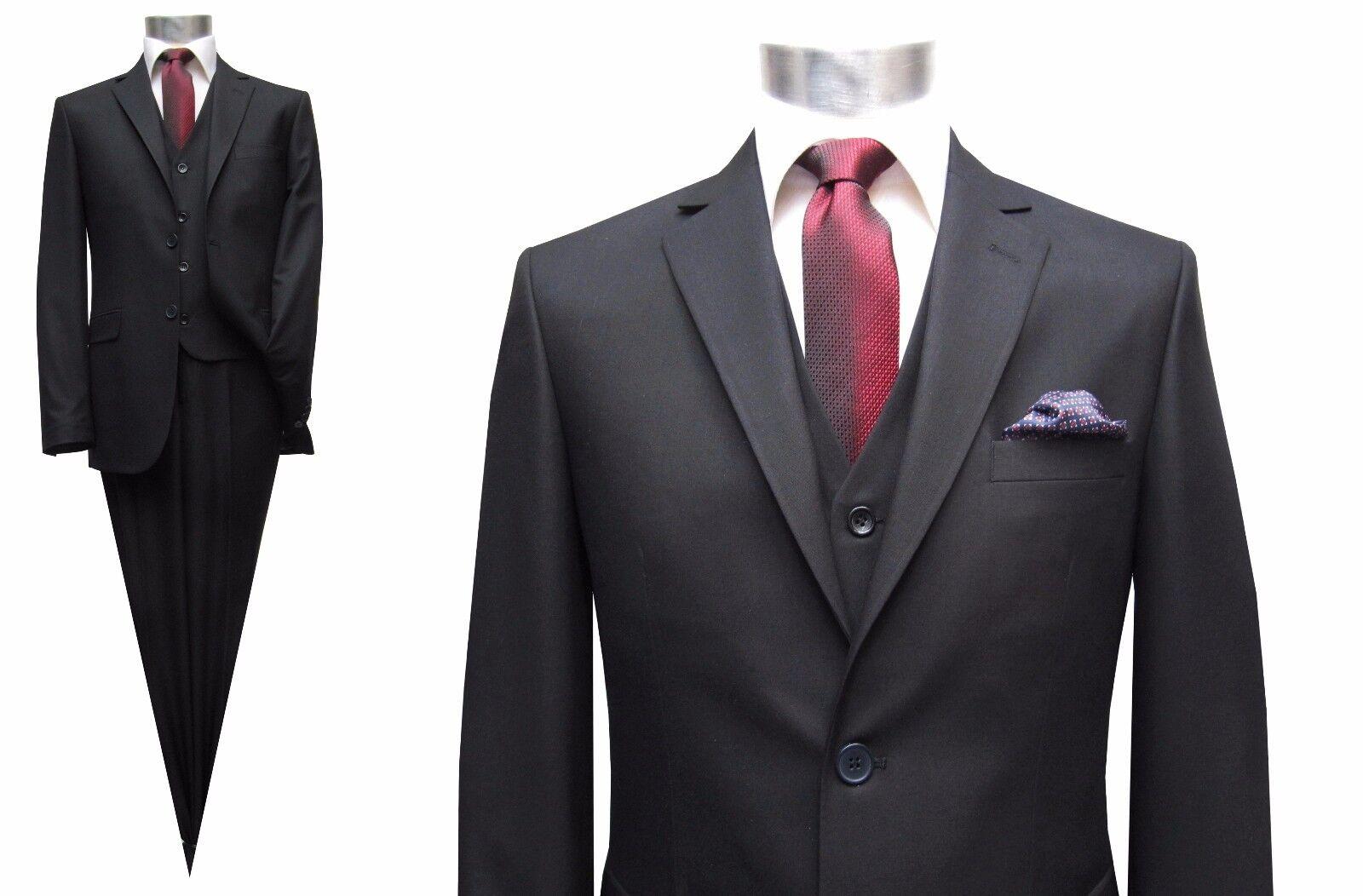 Herren Anzug 3-teilig Slim-fit Gr.110 Schwarz