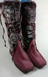 MOSHULU-COLOURS-DUSKY-PINK-FLAT-FUR-TRIM-SUEDE-LEATHER-LINED-BOOTS-UK-5-EUR-38