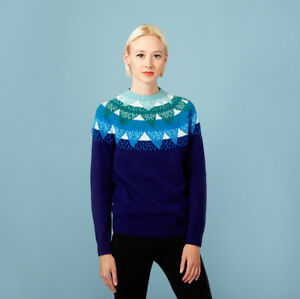 Indigo Islandese Blue Mountain Peak Raro Bnwt Wilson Jumper Sweater Donna q0wItn5R