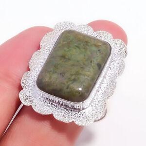 Green Jade Gemstone Handmade 925 Sterling Silver Jewelry Ring Size 10 4417