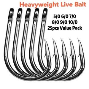 5/0-10/0 Chemically Sharpened 4X Strong Live Bait Hooks Value Bulk Pack