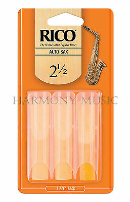Rico Alto Sax Saxophone Reed - 3 Reeds - 3 - Pack, Strength 1.5 or 2 or 2.5