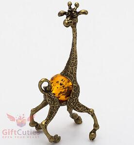 Solid-Brass-Amber-Figurine-of-Giraffe-Totem-talisman-IronWork