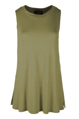 New Womens Ladies Casual Side Split Baggy Jersey Swing Tank Vest Tee T Shirt Top