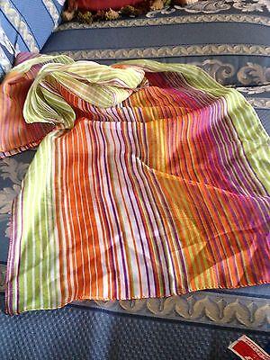 "Grandmas Estate Vintage Bright Stripe Sheer Fabric 58"" x 15"" Scarf"