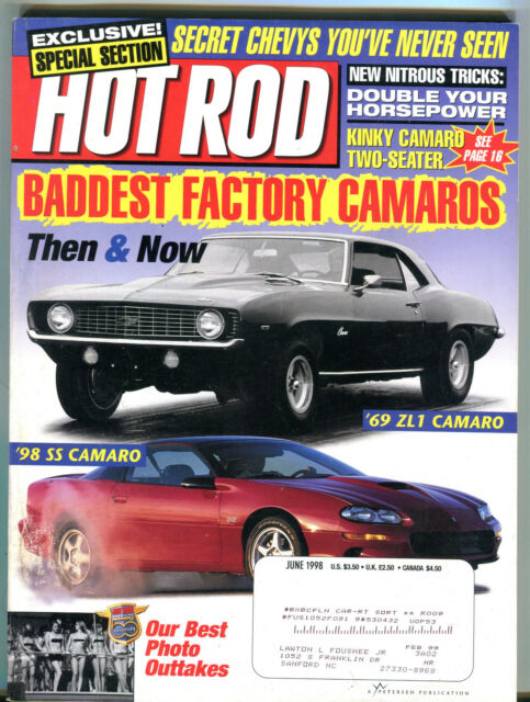 Hot Rod Magazine June 1998 Factory Camaros Chevy EX 021816jhe