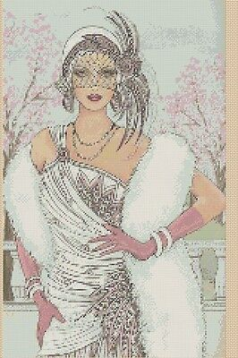 Counted Cross Stitch ART DECO LADY in White and Pink Dress COMPLETE KIT #1-45