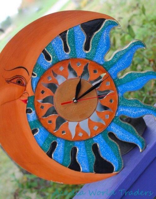 "SUN Crescent Moon Wall Clock Sunburst Handmade Mosaic Art Turquoise 16"""