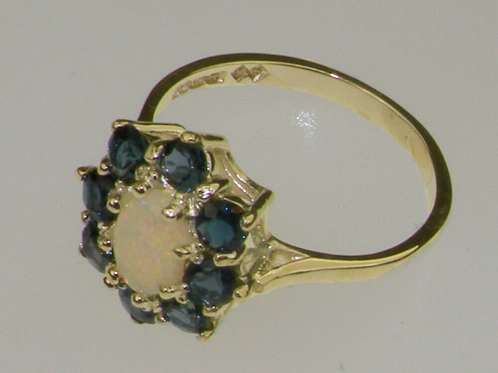 10k Yellow gold Natural Opal & London bluee Topaz Womens Cluster Ring