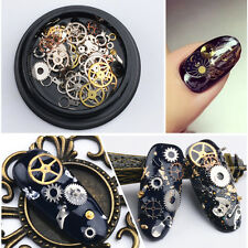 DIY 3D Time Steam Punk Style Gold Metal Studs DIY Decoration Nail Art Wheel