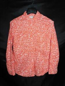 Old-Navy-L-Orange-White-Floral-Shirt-Long-Sleeve-Cotton-Blouse-Button-Front-Lg