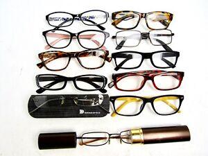 +1.50, LOT OF 11 Used Reading Glasses Readers Fashion Eyeglasses. 5/21