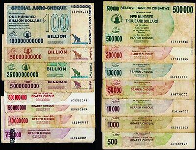 500,000 Zimbabwe Dollars x 30 Banknotes 500Thousand ½ Million Heavily Circulated