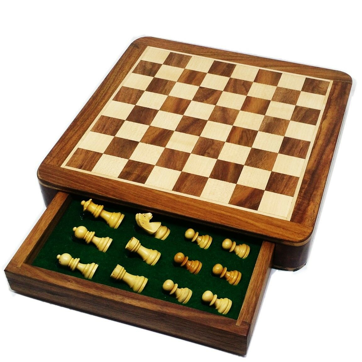 Large 10 inch Travel Chess set with Drawer - Magnetic Set - oroen Rose wood