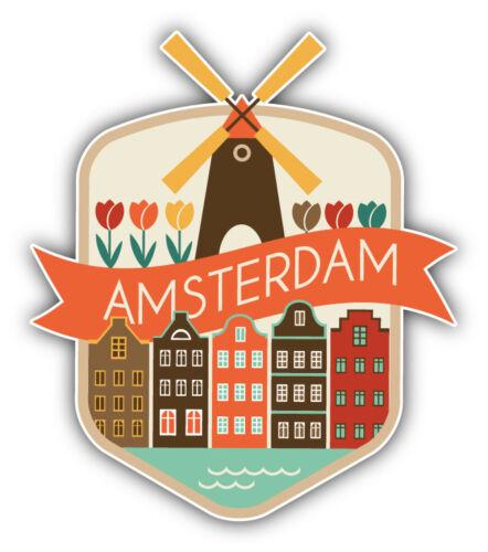 """Viaje de ciudad de Amsterdam Países Bajos emblema coche calcomanía etiqueta 4/"""" X 5/"""""""
