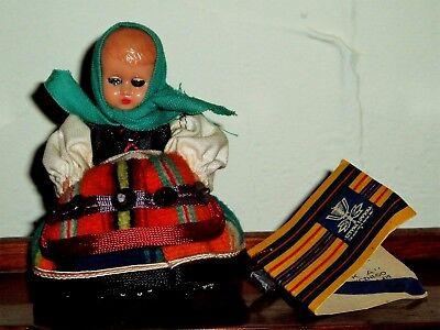 "10 Cm Celluloid/hard Plastic Polish Spoldzielnia Pracy Doll & Tag Sunny Vintage 4"""