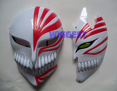 2 Pcs Bleach Ichigo Kurosaki Bankai Hollow Mask Full and Half Cosplay Props