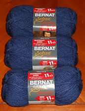 Bernat Softee Chunky Yarn Lot Of 3 Skeins (Faded Denim #28114)
