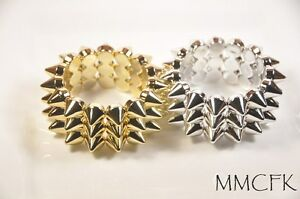 Hot-Gothic-Punk-Rock-Style-3-Lines-Spike-Hedgehog-Rivets-Elastic-Bangle-Bracelet