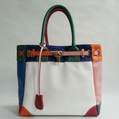 Pu Leather Women Shoulder Messenger Hit Colors Matching Hand Bag