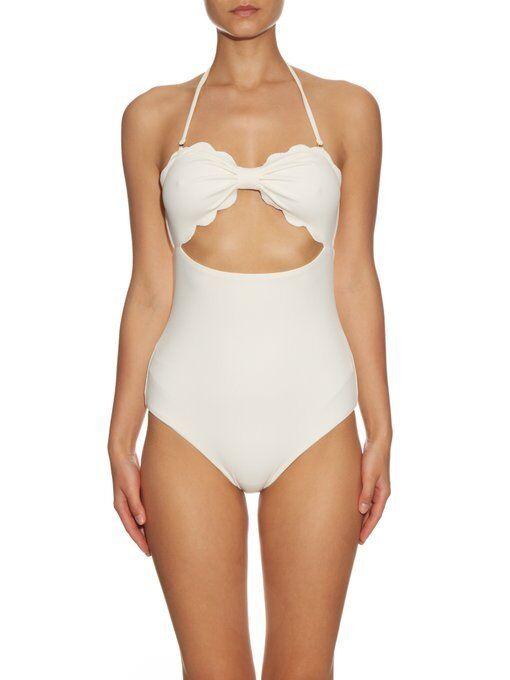 Marysia Swim Antibes scallop-edged swimsuit ivory sz M  380
