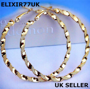 NEW-PAIR-OF-BIG-GOLD-PLATED-HOOP-EARRINGS-LARGE-CIRCLE-CREOLE-CHIC-HOOPS-GIFT-UK