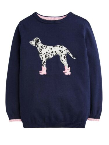 Ages 5-12 Joules Girls Meryl Intarsia Jumper Dalmation Colours Deep Pink