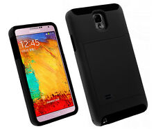 Credit Card ID Holder Phone Case Soft Hybrid Cover for Galaxy Note 4 - Black