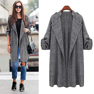 Plus Size Womens Warm Long Duster Coat Outwear Trench Jacket Windbreaker XL-5XL