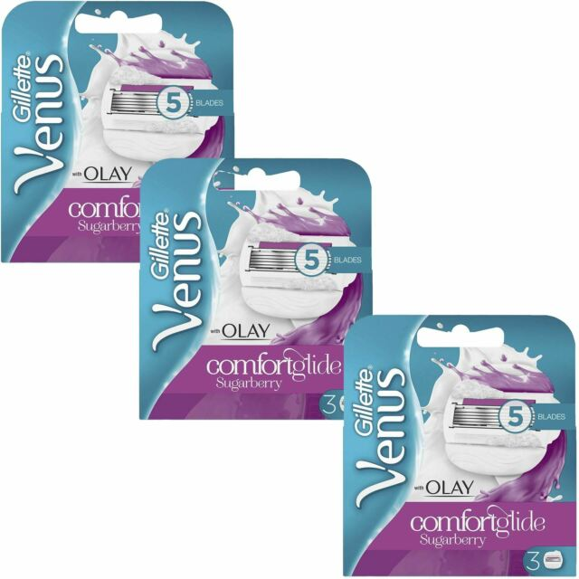 9 x Gillette Venus and Olay Sugarberry Scent Women's Replacement Razor Blades
