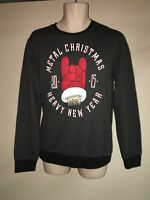 Ugly Christmas Fleece Sweatshirt Mens Small Black Heather 2015 Heavy Metal