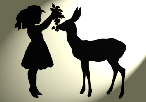 Shabby Chic Stencil Girl Stag Deer Rustic Vintage A4 297x210mm furniture wall
