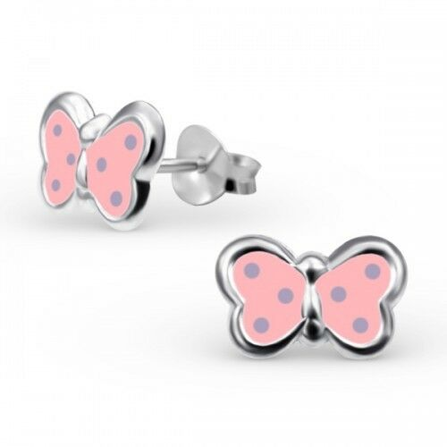 Childrens Girls Sterling Silver Pink Spotted Butterfly Stud Earrings 10x7mm