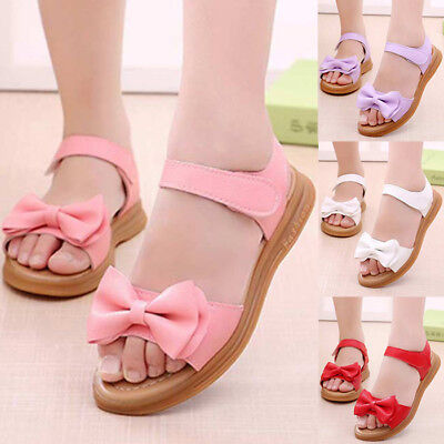 1-9Y Toddler Baby Girls Summer Floral Sandal PU Leather Princess Shoes Anti Slip